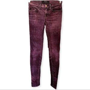 J Brand Skinny Leg Jeans Deep Brick Red Textured Velveteen in Lava Herr Sz 24